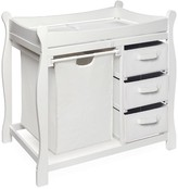 The Well Appointed House White Sleigh Style Changing Table with Hamper and 3 Baskets
