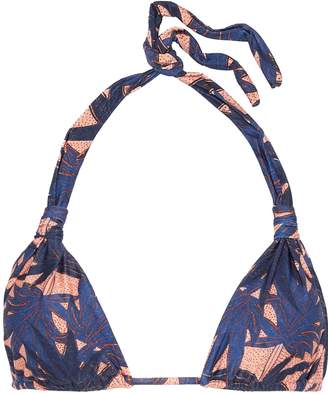 Vix Paula Hermanny Paradise Bia Knotted Printed Triangle Bikini Top