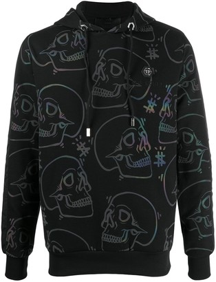 Philipp Plein All Over Skull Print Hoodie