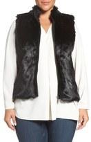 Foxcroft Zip Front Faux Fur Vest (Plus Size)