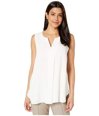 Vince Camuto Sleeveless Split-Neck Front Pleat Soft Texture Blouse