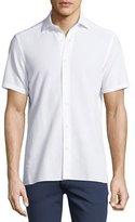Ermenegildo Zegna Seersucker Cotton Short-Sleeve Shirt