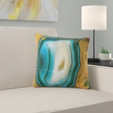 """Abstract Colorful Agate Pattern Pillow East Urban Home Size: 16"""" x 16"""", Product Type: Throw Pillow"""