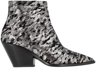 Casadei Camperos Texan Ankle Boots In Animal-effect Metallic Suede