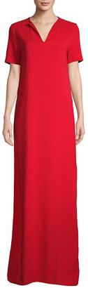 Lanvin Short-Sleeve Floor-Length Gown