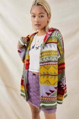 Urban Outfitters Patchwork Hooded Cardigan - Assorted S/M at