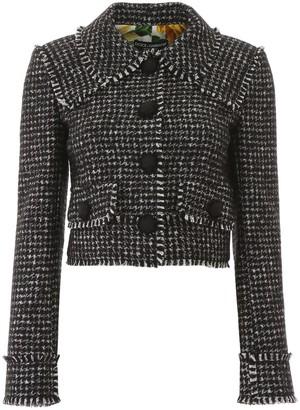 Dolce & Gabbana Houndstooth Fringed Jacket