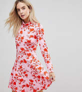 Asos Polo Neck Mini Dress With Godets In Floral Print