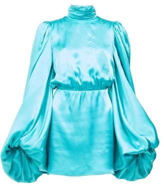 ATTICO High-neck Balloon-sleeve Satin Mini Dress - Blue