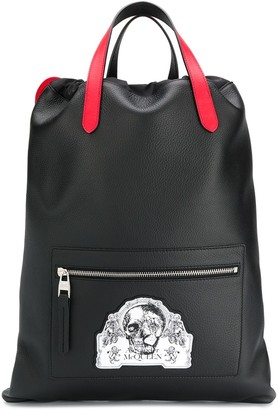 Alexander McQueen skull patch drawstring backpack