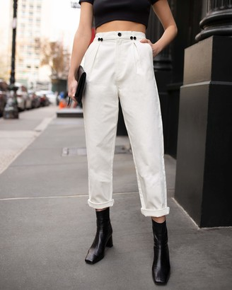 The Drop Women's Winter White Pleated High-Waist Pant by @laurie_ferraro XXS