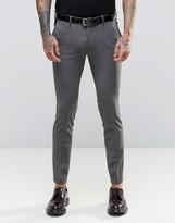 Asos Super Skinny Tuxedo Suit Pants In Salt And Pepper