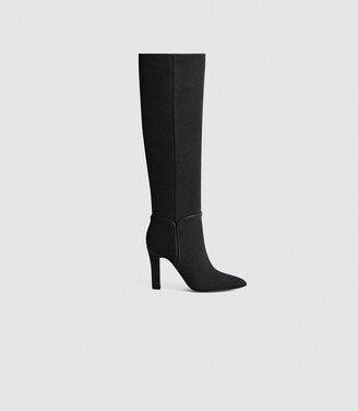 Reiss Eline - Suede Knee High Boots in Black