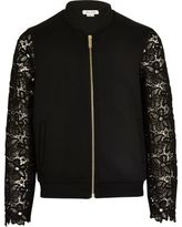 River Island Girls black lace sleeve bomber jacket