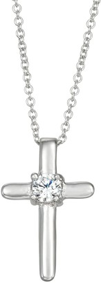 Charming Girl Kids' Sterling Silver Cubic Zirconia Cross Pendant Necklace