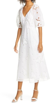 Rebecca Taylor Honeysuckle Eyelet Cotton & Silk Dress