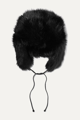Eugenia Kim Owen Leather-trimmed Faux Fur Hat - Black