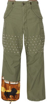 Junya Watanabe Printed Satin-paneled Studded Cotton-blend Wide-leg Pants - Army green