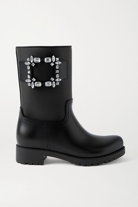 Roger Vivier Tempete Viv' Crystal-embellished Rubber Rain Boots - Black