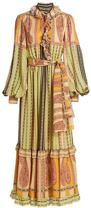 Etro Pamela Belted Tie Paisley Silk Midi Dress