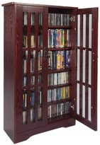 Leslie Dame M-371DC High-Capacity Inlaid Glass Mission Style Multimedia Storage Cabinet