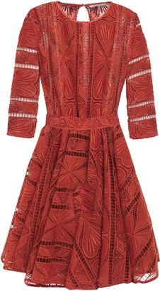 Maje Ripiza Flared Guipure Lace Mini Dress
