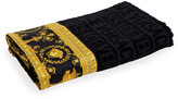 Versace Logo Jacquard Beach Towel with Baroque-Print Border