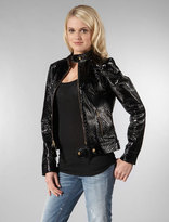 Quilted Leather Biker Jacket in Black