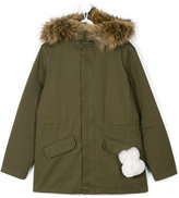 Yves Salomon Enfant - hooded parka - kids - Cotton/Rabbit Fur/Polyester/Marmot Fur - 14 yrs