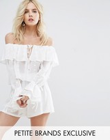 Missguided Petite Bardot Frill Embroidered Top