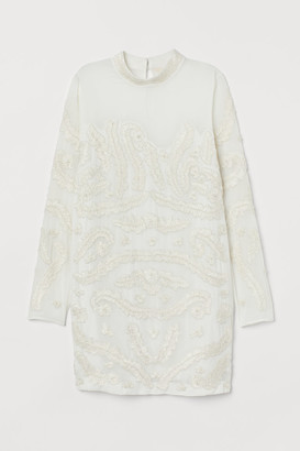 H&M Dress with Beaded Embroidery - White