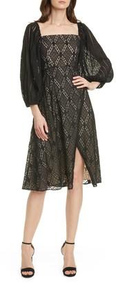 Alice + Olivia Taina Balloon Sleeve Embroidered Midi Dress