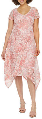 Ronni Nicole Short Sleeve Floral Lace Fit & Flare Dress