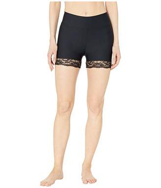 Plush Lace Trim Compression Spandex Active Bike Shorts