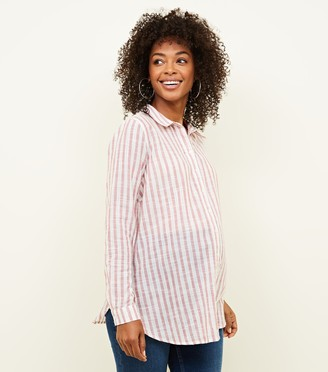 New Look Maternity Stripe Crinkle Cotton Shirt
