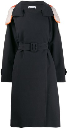 Besfxxk Hooded Trench Coat