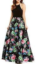 Blondie Nites Floral-Print Skirt Open-Back Halter-Neck Ball Gown