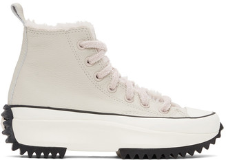 Converse Beige and Pink Cozy Club Run Star Hike High-Top Sneakers