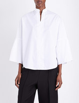 Valentino Bell-sleeve cotton-poplin shirt
