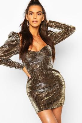 boohoo Metallic Leopard Print Puff Sleeve Mini Dress