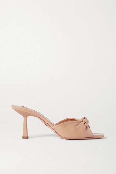 Aquazzura Pasha 75 Knotted Leather Mules - Neutral