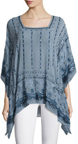 Calypso St. Barth Petra Embellished Tunic Top, Blue Moon