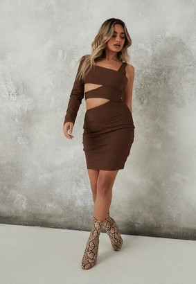 Missguided Chocolate Bandage One Shoulder Cut Out Mini Dress