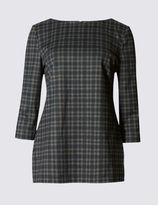 Marks and Spencer Checked 3/4 Sleeve Jersey Tunic