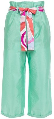 Emilio Pucci Cropped Belted Crinkled Silk-taffeta Straight-leg Pants