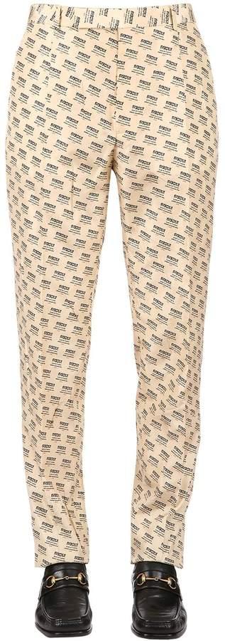Gucci 21cm Logo Print Silk Taffeta Pants