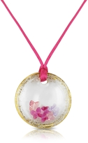 Murano House of Round Glass Pendant w/ Fuchsia Lace