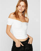 Express one eleven solid ruched off the shoulder tee
