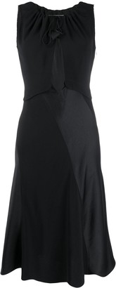 Lanvin Dual-Material Cutout Midi-Dress