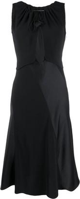 Lanvin Dual-Material Cutout Midi-Dress